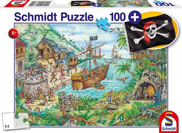 Puzzle: In der Piratenbucht, mit add on (Piratenflagge), 100 Teile