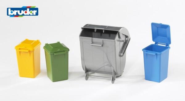 Bruder 02607 Mülltonnen Set (3 kleine, 1 große Tonne)