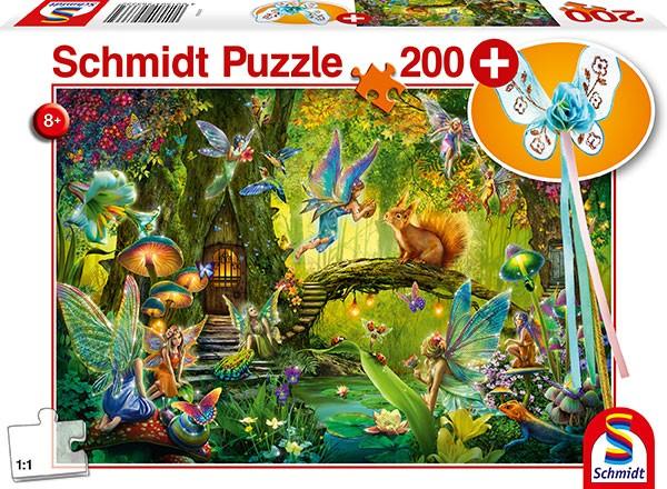 Puzzle: Feen im Wald, mit Feenstab, 200 Teile