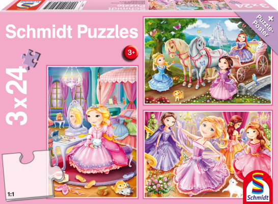 Puzzle: Märchenhafte Prinzessinnen, 3x 24 Teile