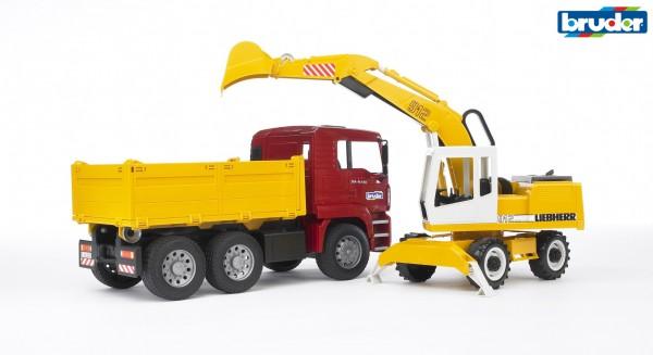 Bruder 02751 MAN TGA Kipplastwagen mit Liebherr Schaufelbagger