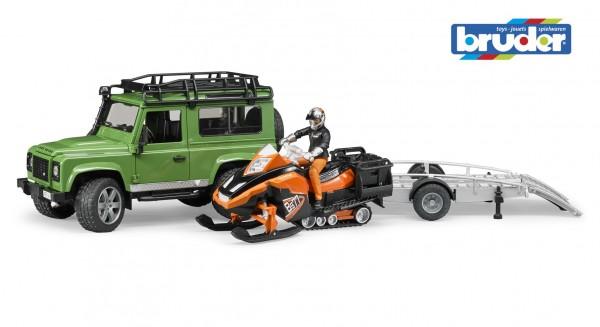 Bruder 02594 Land Rover Defender Station Wagon mit Anhänger, Snowmobil, Fahrer und Zubehör