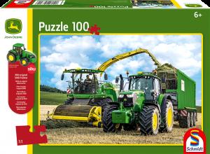 Puzzle: Traktor 6195M und Feldhäcksler 8500i, 100 Teile