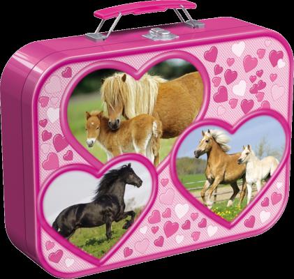 Pferde, Puzzle-Box im Metallkoffer, 2 x 26 Teile, 2 x 48 Teile
