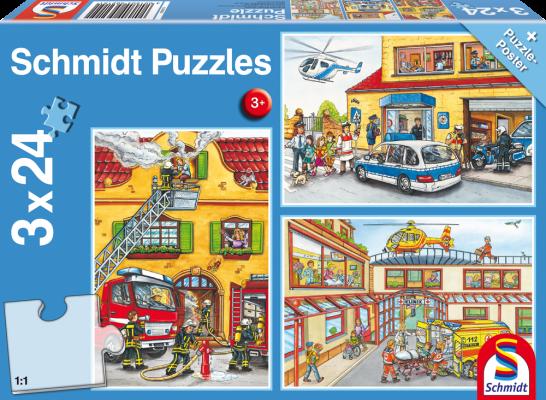 Puzzle: Feuerwehr & Polizei, 3 x 24 Teile