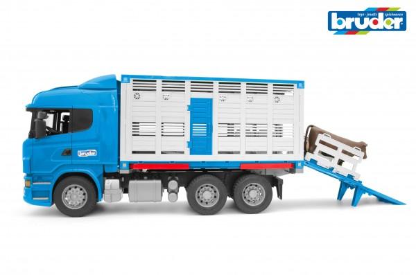 Bruder 03549 Scania R-Serie Tiertransport–LKW mit 1 Rind