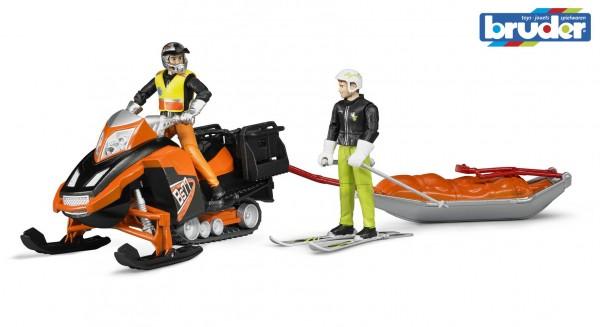 Bruder 63100 Snowmobil mit Fahrer, Akia-Rettungsschlitten und Skifahrer