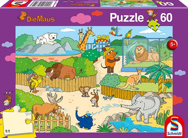Puzzle: Die Maus, Im Zoo, 60 Teile