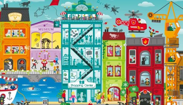 Animiertes Stadt-Puzzle
