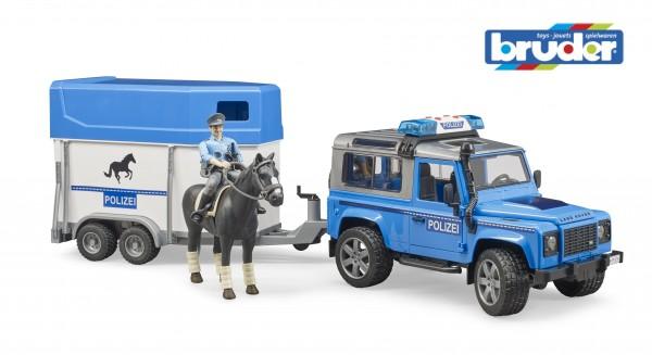 Bruder 02588 Land Rover Defender Polizei + berittener Polizist