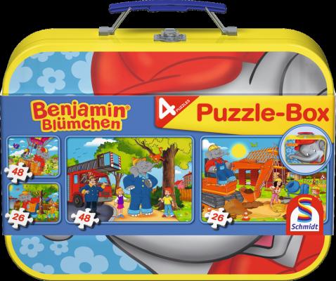 Benjamin Blümchen, Puzzle-Box im Metallkoffer, 2 x 26 Teile, 2 x 48 Teile