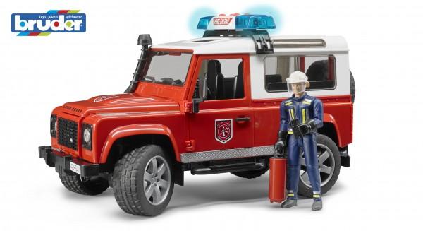 Bruder 02596 Land Rover Defender Station Wagon Feuerwehr-Einsatzfahrzeug mit Feuerwehrmann inkl. Feu
