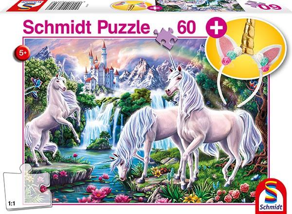 Puzzle: Traumhafte Einhörner, mit add on (Einhorn-Haarreif), 60 Teile