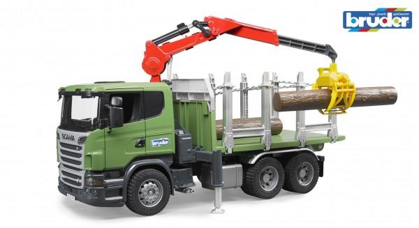 Bruder 03524 SCANIA R-Serie Holztransport-LKW mit 3 Baumstämmen