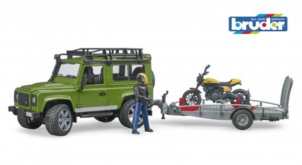 Bruder 02589 Land Rover Defender+Scrambler Ducati Full Throttle