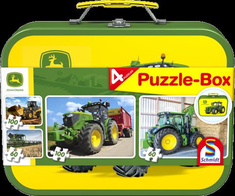 Puzzle-Box im Metallkoffer, 2x60 Teile, 2x100 Teile, insgesamt 4 Puzzle
