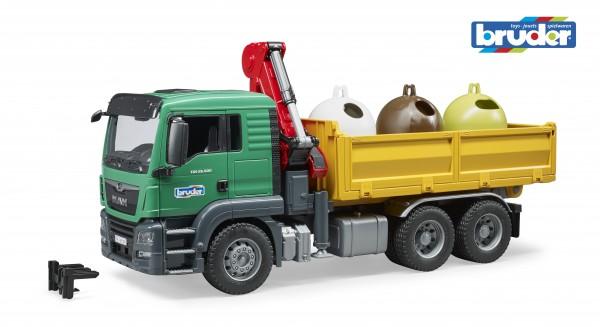 Bruder 03753 MAN TGS Kran LKW mit 3 Altglascontainer + Flaschen