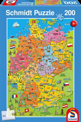 Puzzle: Deutschlandkarte mit Bildern, 200 Teile