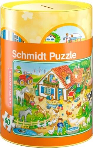 Bauernhof, Puzzle 60 Teile in der Spardose