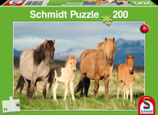 Puzzle: Pferdefamilie. 200 Teile