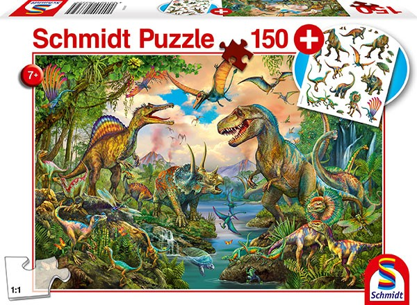 Puzzle: Wilde Dinos, mit add on (Tattoos Dinosaurier), 150 Teile