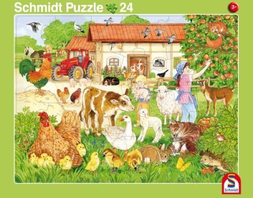 2er Set Rahmenpuzzles Wir gehen in den Zoo! 16 Teile/Ferien auf dem Bauernhof 24