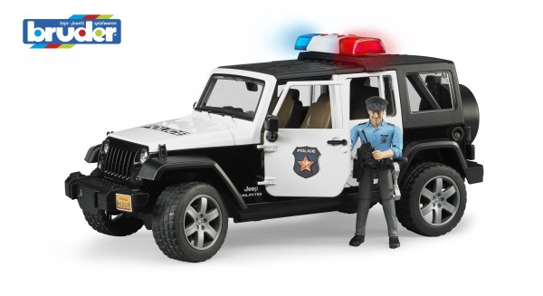 Bruder 02526 Jeep Wrangler Unlimited Rubicon Polizeifahrzeug mit Polizist und Ausstattung