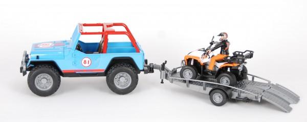 Bruder 01696 Jeep Cross Country Racer blau, Fahrer, Anhänger und Quad