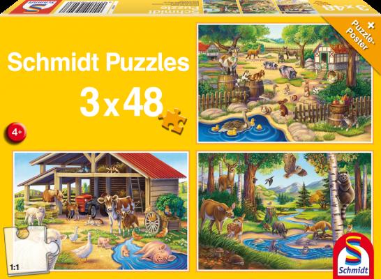 Puzzle: Alle meine Lieblingstiere, 3x 48 Teile