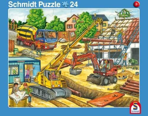 2er Set Rahmenpuzzles Fahrt mit dem Müllauto 16 Teile/Achtung, Baustelle! 24 Teile