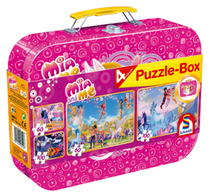 Puzzle-Box im Metallkoffer, Mia & Me, 2x60 Teile, 2x100 Teile, insgesamt 4 Puzzle