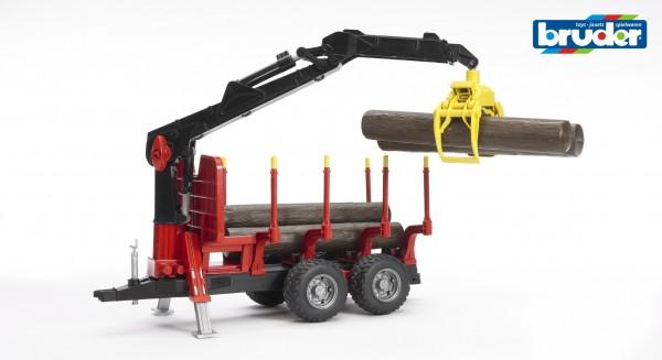 Bruder 02252 Rückeanhänger mit Ladekran und Holzgreifer