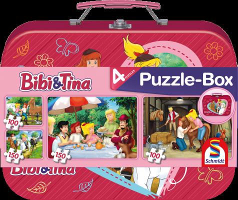 Puzzle-Box im Metallkoffer, Bibi und Tina, 2x100 Teile, 2x150 Teile, insgesamt 4 Puzzle