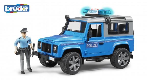 Bruder 02597 Land Rover Defender Station Wagon Polizeifahrzeug mit Polizist und Ausstattung